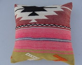"FREE SHIPPING / Home Decor,Turkish Area Rug Kilim Pillow Cover 16"" X 16"",Decorative Pillow,Vintage Kilim Pillow,Throw Pillow"