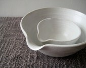 Set of Two Pouring Bowls, Rustic Stoneware Pottery Batter Bowls