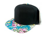 Custom Embroidery Black and Teal Turquoise Flat Bill Floral Hat Snapback Flower Rose
