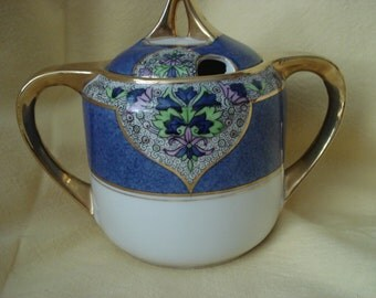 Vintage Sugar Bowl Noritake Handpainted Blue and White Gold Trimmed Art Deco Style