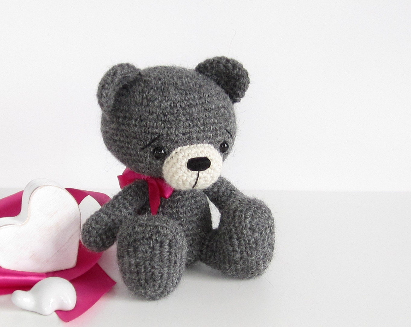 Amigurumi Care Instructions : Sitting teddy bear Amigurumi animal Hand crocheted soft