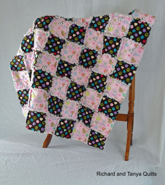 Pink and Brown Puppy Baby Rag Quilt. 38 by 38