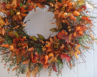 Fall wreath, autumn wreath, fall door wreath, fall door decoration, fall decoration, outdoor wreath, front door wreath, Thanksgiving wreath