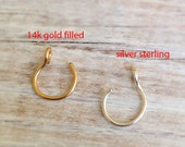 Fake Nose Ring, gold nose ring, body jewelry, Non Pierced jewelry, Sterling Silver Non Pierced Nose Ring