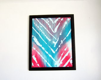 chevron- oil painting- framed 16x20- modern abstract- teal turquoise- salmon- original artwork- home decor- canvas artwork- fine art- gift-