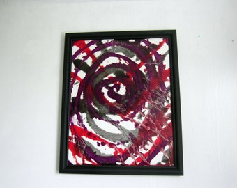 framed colorful oil painting art 16x20 modern abstract red purple black and white original artwork free shipping