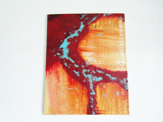 oil painting original art modern abstract 16x20 red orange & teal turquoise