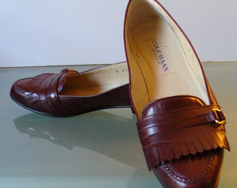 Cole Haan Woman's Oxblood Fringe Loafers Made in Italy Size 7.5US