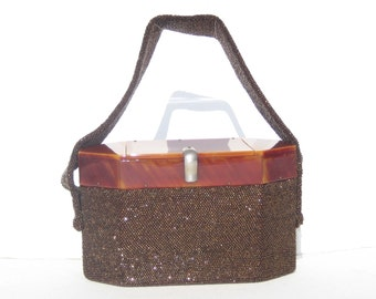 1940s vintage bakelite and bronze beaded evening bag - 1940s evening bag - 1940s bakelite bag - 1940s purse - 1940s vintage evening bag