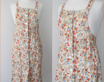 Vtg 90s Creamy Yellow Floral BLoSSoM Print Suspender Apron Jumper Dress // SmaLL