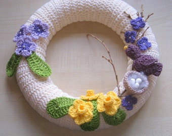 PDF crochet pattern. Photo tutorial. Crochet spring wreath.  Instant download. Permission to sell items made from this pattern.