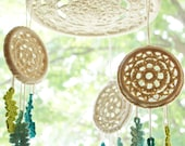 """DIY Crochet PATTERN - Dreaming of Dreams Dreamcatcher Inspired 10"""" and 4"""" diameter Mobile and Wall Hanging (HomDec008)"""