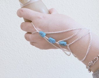 Turquoise Stone Silver Plated Slave Chain Bracelet/ Bracelet with Ring/ Boho Jewelry