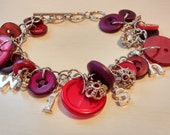 Repurposed Upcycled Button Bracelet with WISH Charms and Red Buttons