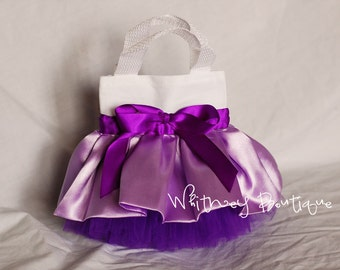 Purple and White Mini Tutu Tote