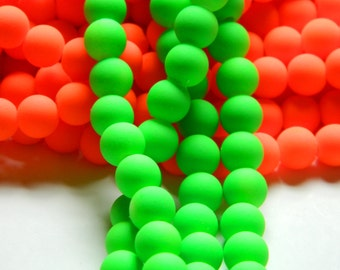 50 Neon Green Acrylic 8mm Beads, Basketball Wives Matte, Neon Green