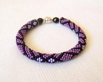 Beadwork - Beaded Crochet Bracelet - Abstract Bangle - Round Chunky Bangle - Geometric Design Bracelet - purple, lilac and black