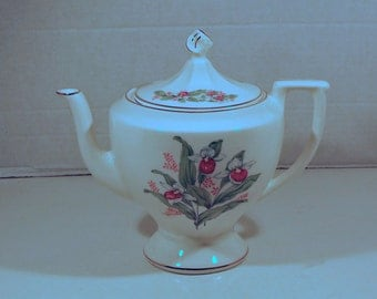 Canonsburg China Queen's Slipper Floral Pattern - Teapot and Lid with Gold Trim