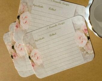 "Set of 10 Wedding Guest RECIPE CARDS Handmade ""Vintage Rose"""