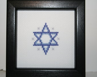 Hanukkah Star of David Cross Stitched Small Picture.