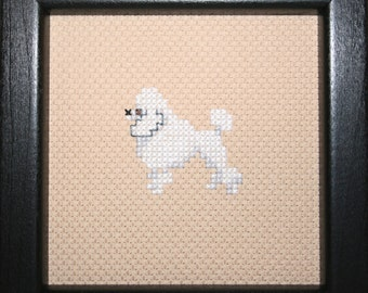 Poodle Miniature Cross Stitched Full Body Dog.