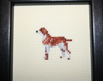 Wirehaired Pointing Griffon Cross Stitched Full Body Dog.