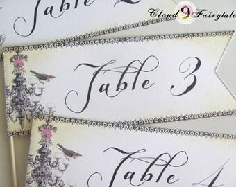 Wedding Table Numbers - Table Number Flags - Vintage Chanedlier and Bird - Hydrangeas - Vintage Wedding - Whimsical Original Design