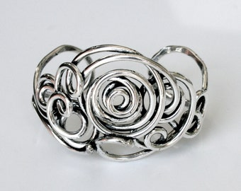 Unique One of a Kind Hand-wrought Sterling Silver Cuff Bracelet . Completely Handmade Solid Silver Wire Bracelet - 'Spiral Twist Bracelet'