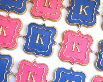 Pink, Purple and Gold Fancy Plaque Monogram Cookies - One Dozen Decorated Wedding Cookies