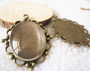 5 pcs 48x63mm-30x40mm Antique Bronze Oval Cameo Cabochon Base Setting Pendants Charm Pendant A2476-2C