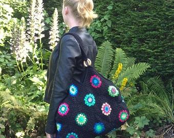 Crochet bag, Black crochet bag, Hippie crochet beachbag or weekendbag