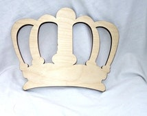 Queen King Royal Crown Wood Shape in Unfinished Wood, Assorted Sizes