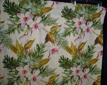"40s 44"" x 78"" Curtains 2 Panels Pink green Magnolia Floral Cotton"