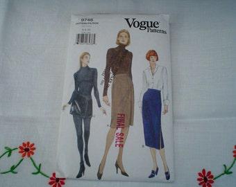 90s 6 8 10 Wrap Straight Pencil Skirt Mini PATTERN Vogue 9746 uncut