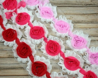 Clearance White with Pink, Red, & Hot Pink Center Shabby Chic Chiffon Flowers - Frayed Vintage Rosettes