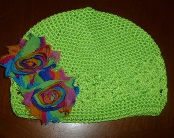 Lime Green Cottin Knit Crochet Chemo Hat with Rainbow Print Shabby Chic type flowers, Girls Lime Green Crochet Chemo Hat