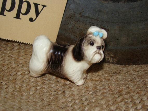 Vintage Shih Tzu Dog Puppy JAPAN Shiny Glaze Porcelain Glass