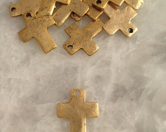 Small GOLD, 1 Holed, Simple Cross, Hammered, Charm, Pewter, Supplies