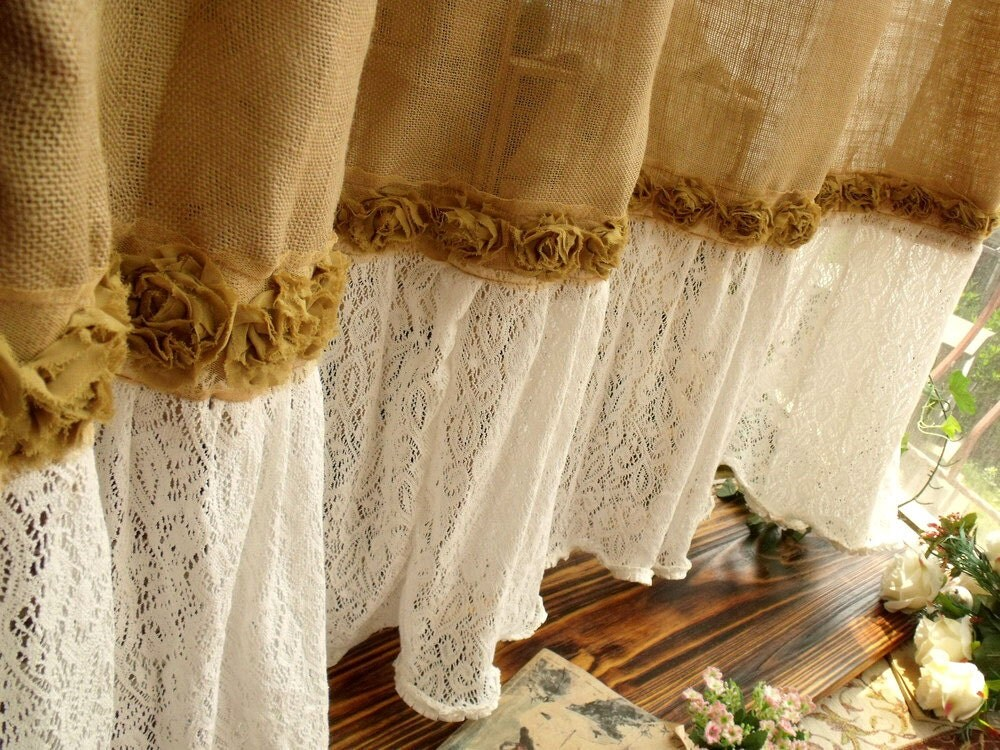 72 SHABBY Rustic Chic Burlap SHOWER Curtain by BetterhomeLiving