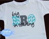 Personalized Big Brother Shirt - Big Bro in Training - Aqua and Grey