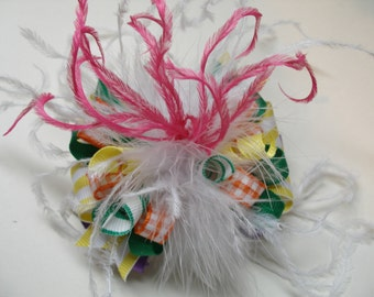 CRAZY Fun Over The Top Happy Birthday Party Fairytale Princess Hair Bow Unique Marabou Boutique Toddler Orange Purple Green