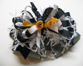 School Uniform Hair Bow Gray Navy Blue Black White Yellow Gold Unique Big Boutique Toddler Gir Korkers Handmade