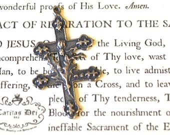 """Cross of Lorraine w/Thistles - 1 3/8"""" - Sterling Silver - Vintage Replica - Made in the USA  (CR11S)"""