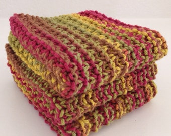 Hand Knit Cotton Dish Cloths - Set of 3 Red, Green, Yellow Varigated - 100% Cotton - Spa Washcloth - Eco-Friendly Active