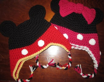 2PDFs Mickey/Minnie ALL Sizes Crochet Hat Pattern