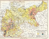 1894 Distribution Map of the Jewish Population in the German Empire at the end of the 19th Century Antique Map