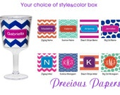 Personalized Plastic wine glasses- personalized chevron wine glasses, striped wine glasses, personalized acrylic wine glasses chevron glass