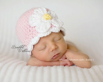 Crochet Hat Pattern Baby Daisy Flower Flapper Hat Beanie PDF 120 Newborn to Adult Photography Prop Instant Download