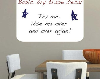 Basic Dry Erase Wall Decal - Writable Wall Decals - White Board Vinyl Wall Decals Self Adhesive - Kids Removable Dry Erase Decals - s57