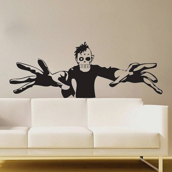 3d zombie decal halloween wall decals scary wall decals - 3d vinyl wandtattoo ...